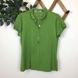 Burberry Brit Rouched Sleeve Polo Collared Shirt